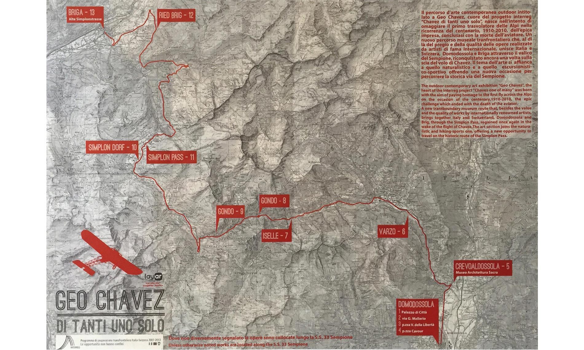 Mappa del percorso outdoor di arte contemporanea